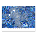 Oklahoma City map art print in blue shapes designed by Maps As Art.