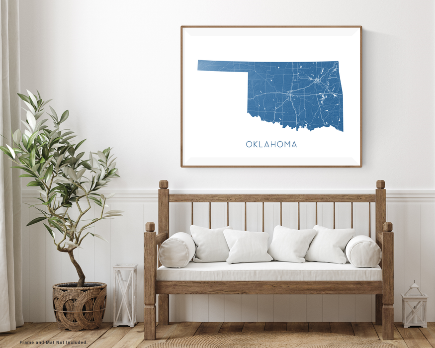 Oklahoma state map print with wooden bench home decor by Maps As Art.