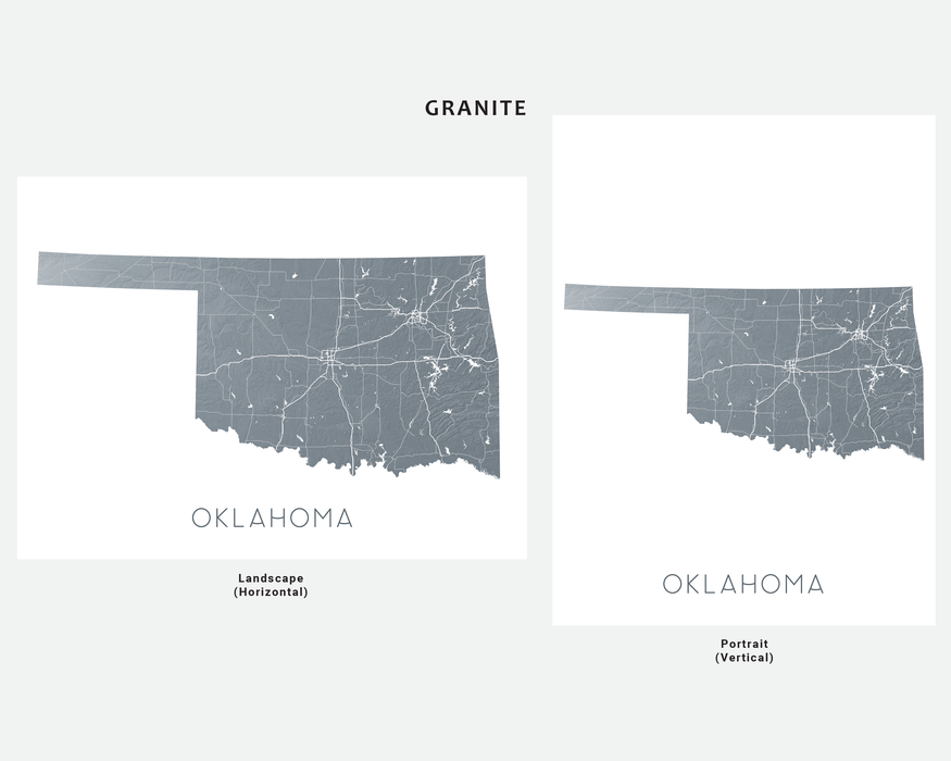 Oklahoma state map print in Granite by Maps As Art.