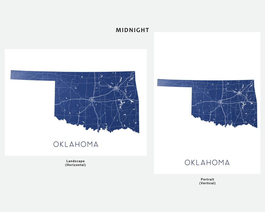 Oklahoma state map print in Midnight by Maps As Art.