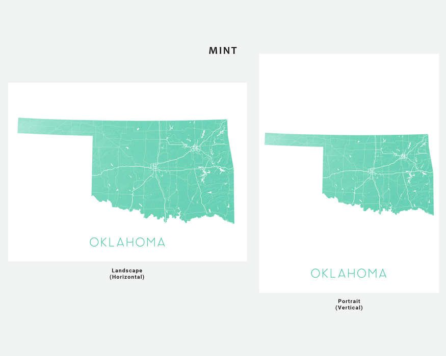 Oklahoma state map print in Mint by Maps As Art.