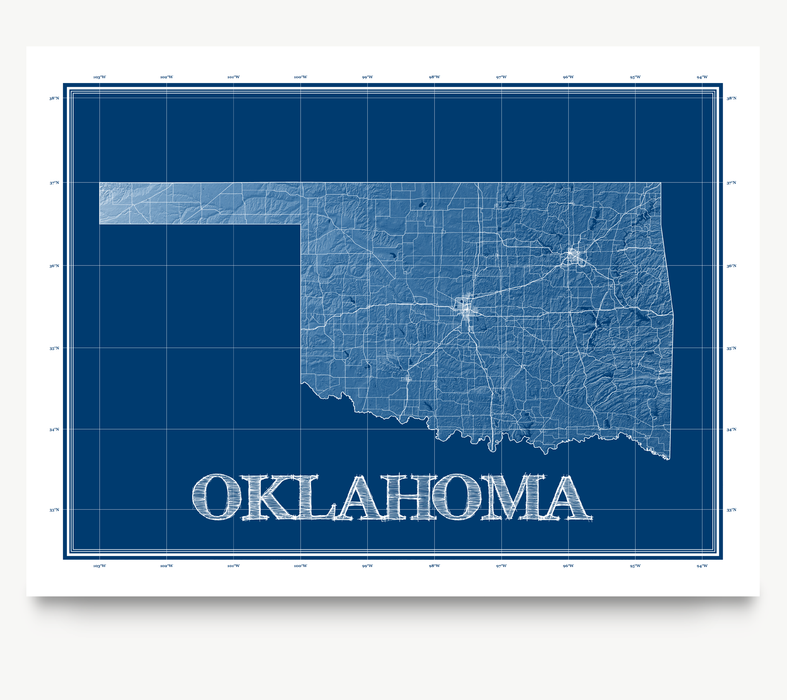 Oklahoma state blueprint map art print designed by Maps As Art.