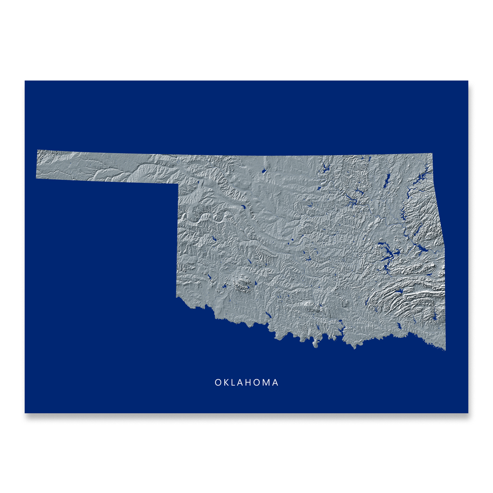 Oklahoma state map print with natural landscape in greyscale and a navy blue background designed by Maps As Art.