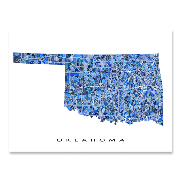 Oklahoma state map art print in blue shapes designed by Maps As Art.
