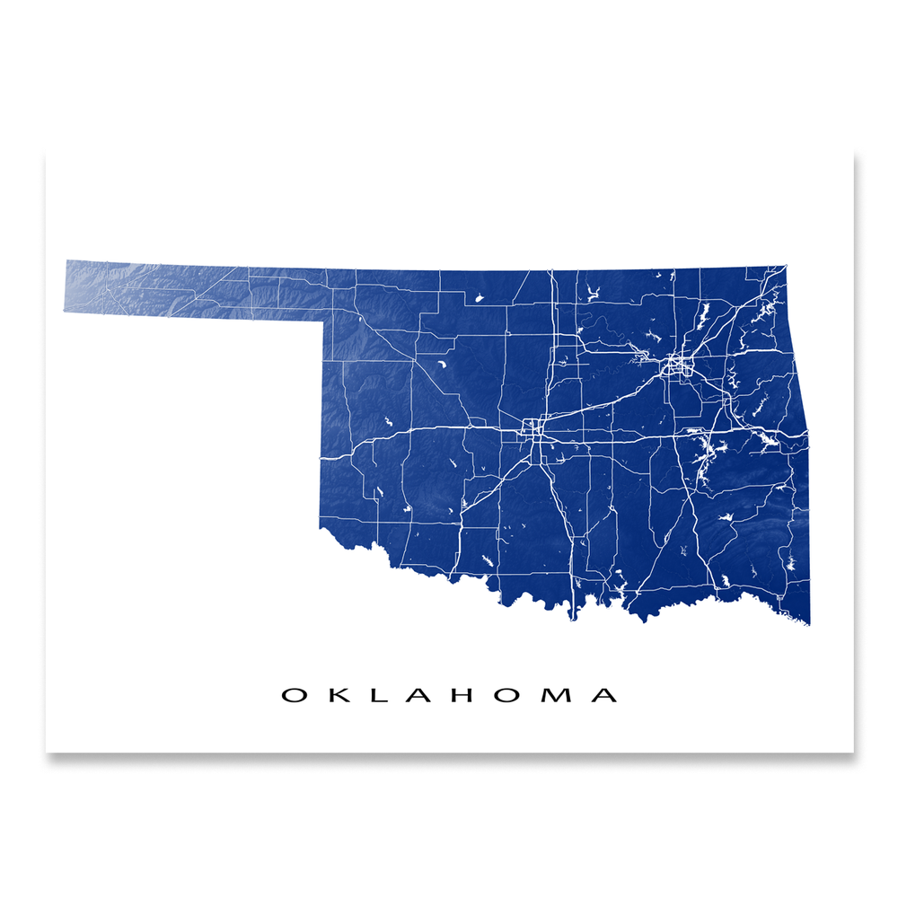 Oklahoma state map print with natural landscape and main roads in Navy designed by Maps As Art.