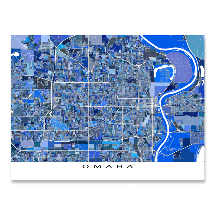 Omaha Map Print, Nebraska, USA