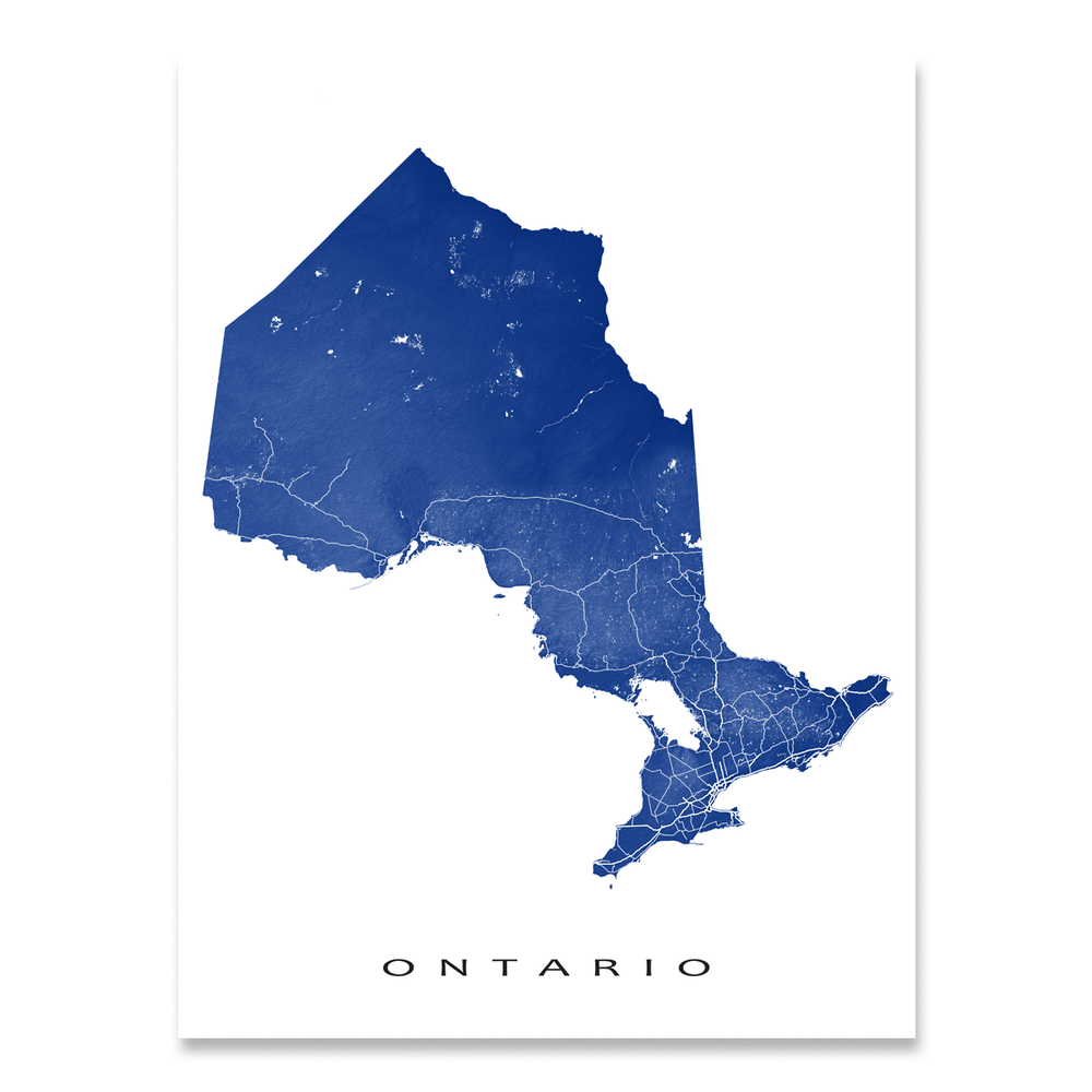 Ontario, Canada map print with natural landscape and main roads in Navy designed by Maps As Art.