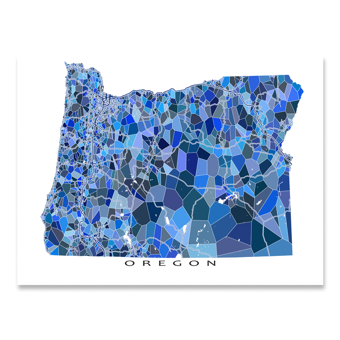 Oregon state map art print in blue shapes designed by Maps As Art.