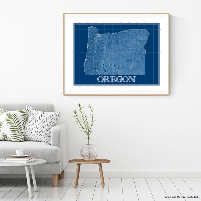 Oregon state blueprint map art print designed by Maps As Art.