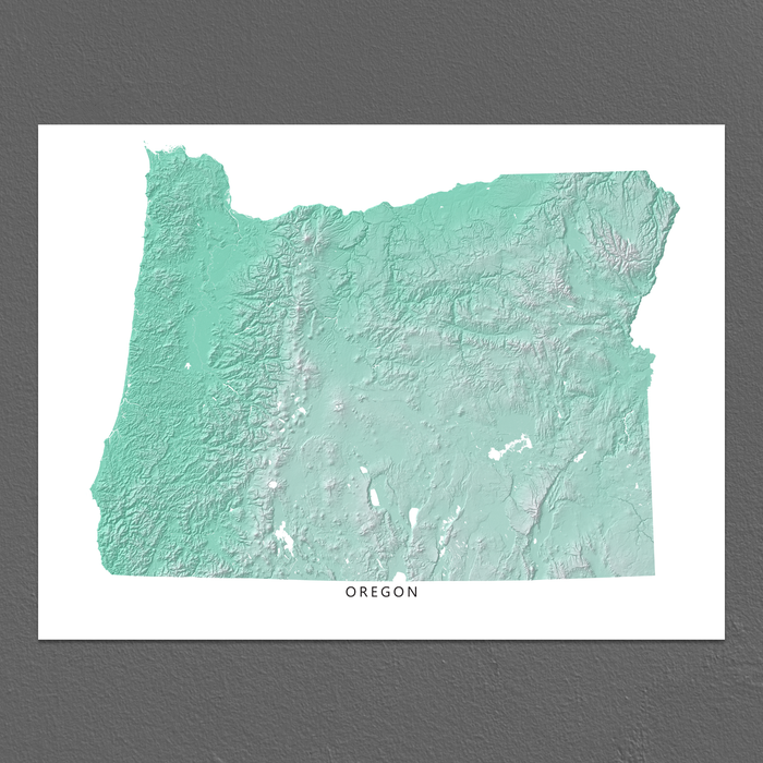 Oregon state map print with natural landscape in aqua tints designed by Maps As Art.