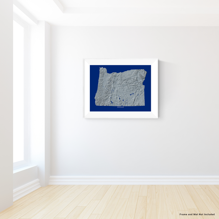 Oregon state map print with natural landscape in greyscale and a navy blue background designed by Maps As Art.