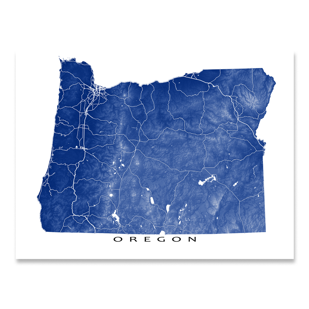 Oregon state map print with natural landscape and main roads in Navy designed by Maps As Art.