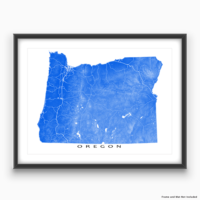 Oregon state map print with natural landscape and main roads in Blue designed by Maps As Art.