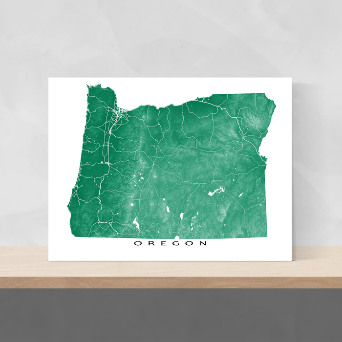 Oregon state map print with natural landscape and main roads in Green designed by Maps As Art.