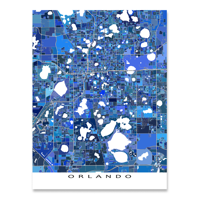 Orlando, Florida map art print in blue shapes designed by Maps As Art.