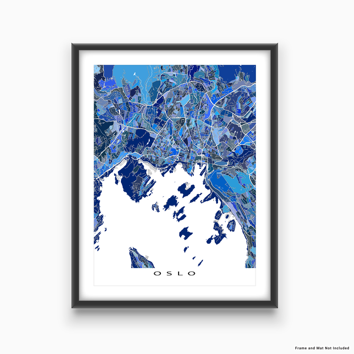Oslo, Norway map art print in blue shapes designed by Maps As Art.