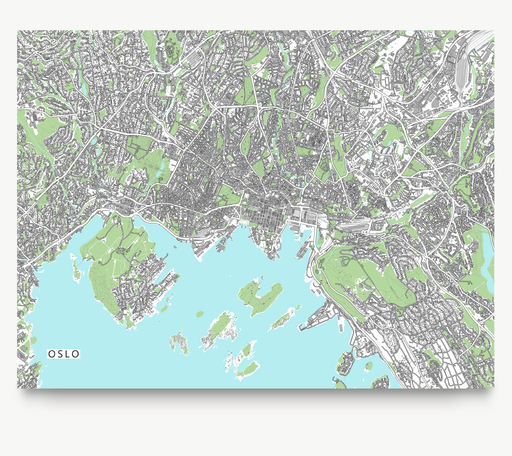 Oslo, Norway map art print with city streets and buildings designed by Maps As Art.