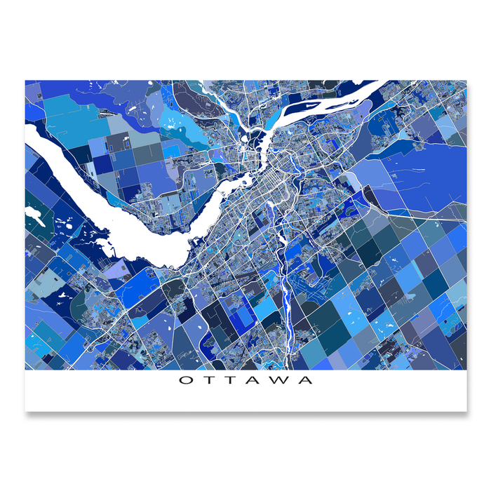 Ottawa, Ontario, Canada map art print in blue shapes designed by Maps As Art.