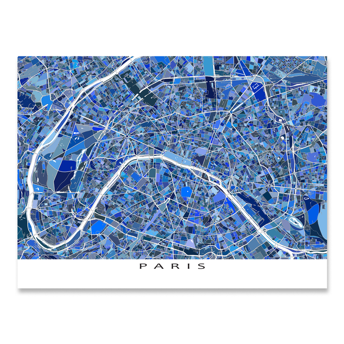 Paris, France map art print in blue shapes designed by Maps As Art.