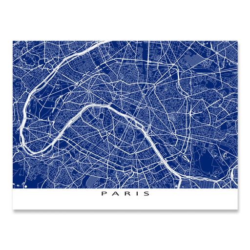 Paris, France map print with city streets and roads in Navy designed by Maps As Art.