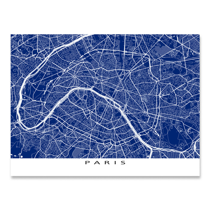 Paris Map Print, France, Colors