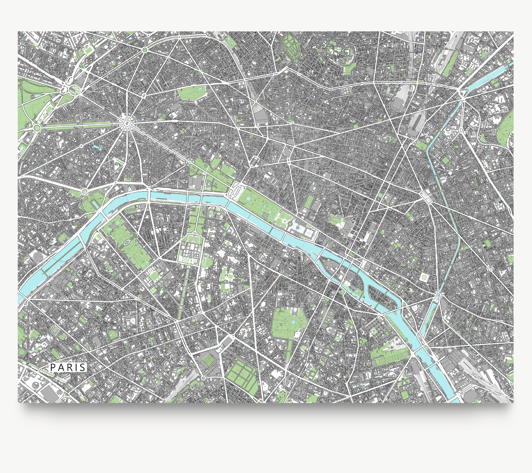 photo regarding Printable Maps of Paris identified as Paris Map Print, France, Gray