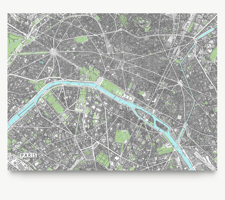 Paris, France map art print with city streets and buildings designed by Maps As Art.