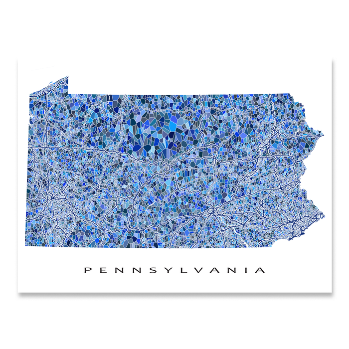 Pennsylvania state map art print in blue shapes designed by Maps As Art.