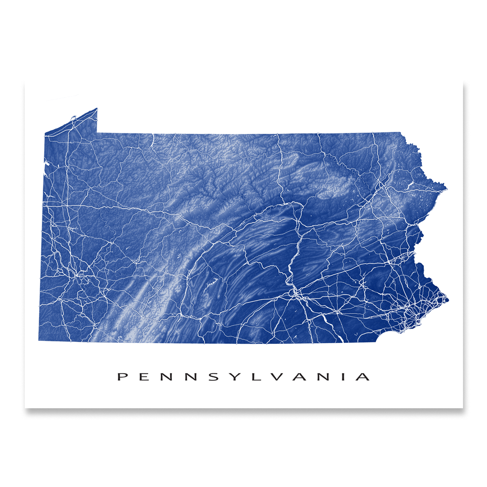 Pennsylvania state map print with natural landscape and main roads in Navy designed by Maps As Art.