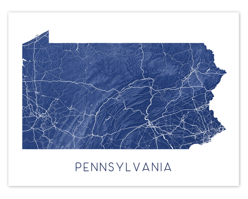 Pennsylvania state map print in Midnight by Maps As Art.
