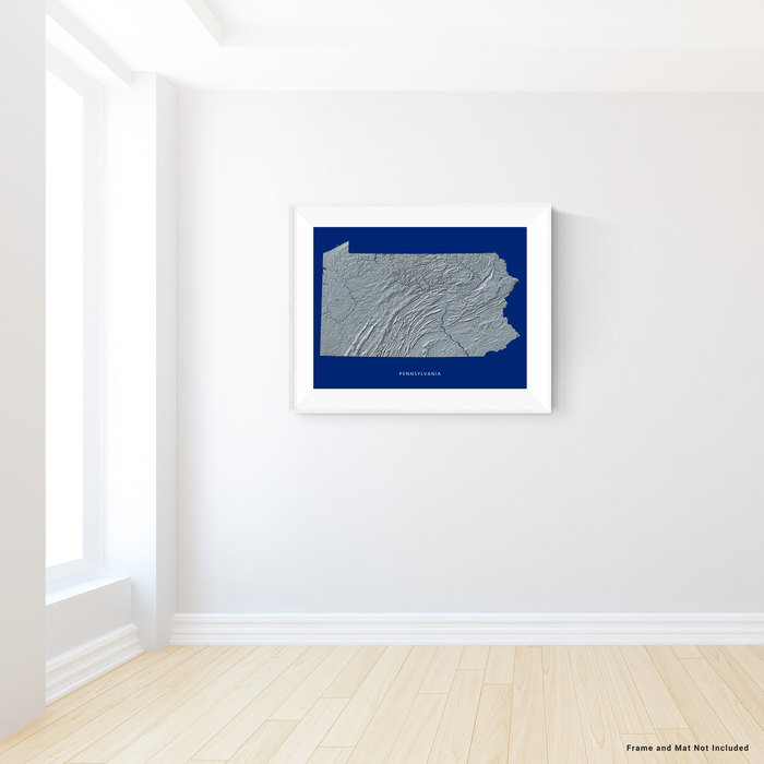 Pennsylvania state map print with natural landscape in greyscale and a navy blue background designed by Maps As Art.