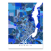 Peoria, Illinois map art print in blue shapes designed by Maps As Art.