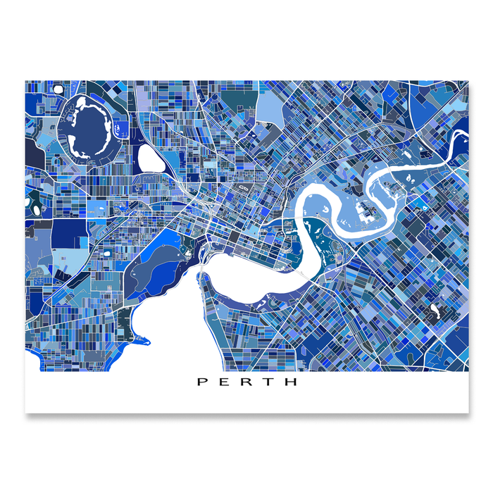 Perth, Australia map art print in blue shapes designed by Maps As Art.