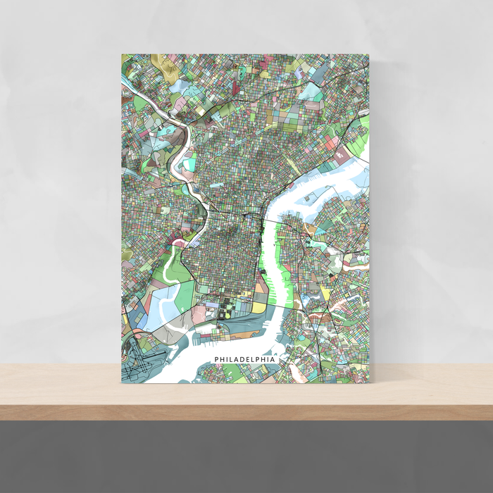 Philadelphia, Pennsylvania map art print in colorful shapes designed by Maps As Art.
