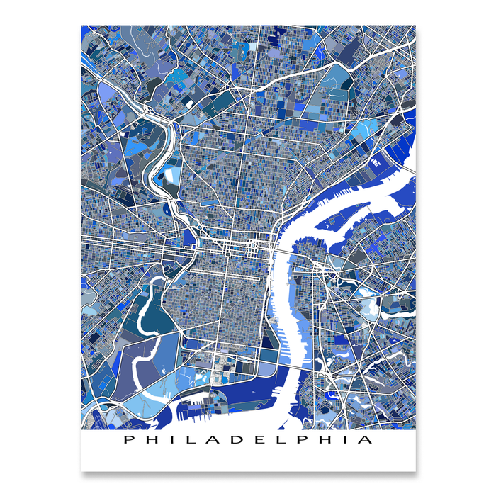 Philadelphia Map Print, Pennsylvania, USA
