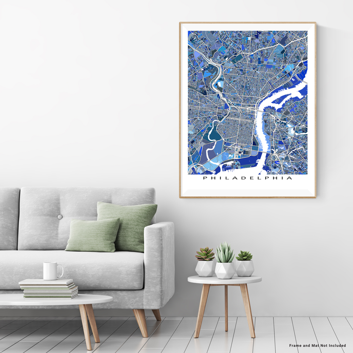 Philadelphia, Pennsylvania map art print in blue shapes designed by Maps As Art.