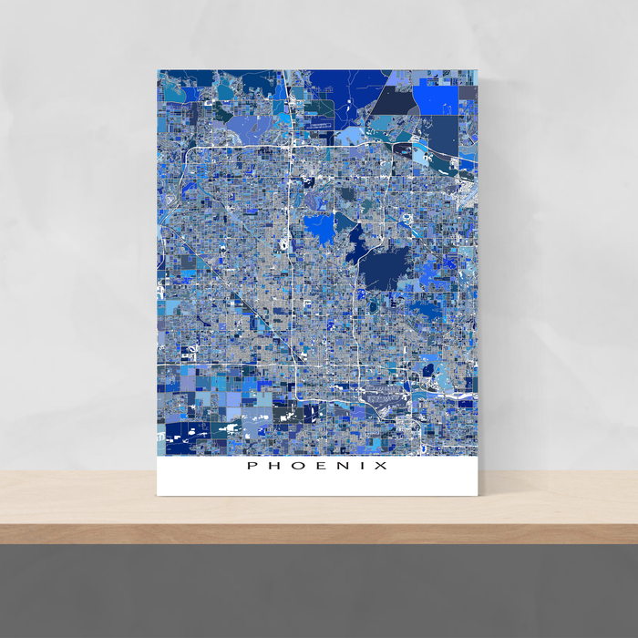 Phoenix, Arizona map art print in blue shapes designed by Maps As Art.