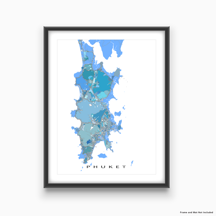 Phuket, Thailand map art print in light blue, aqua and turquoise shapes designed by Maps As Art.