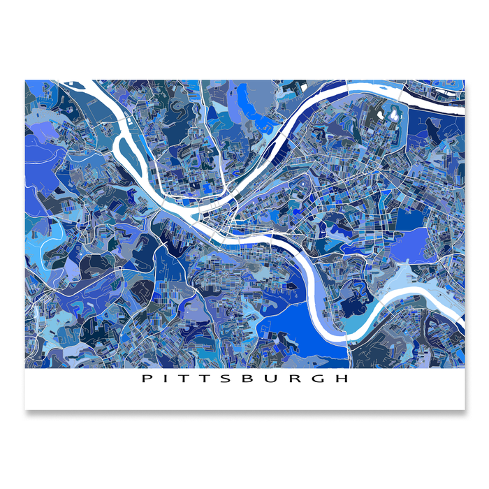 Pittsburgh, Pennsylvania map art print in blue shapes designed by Maps As Art.