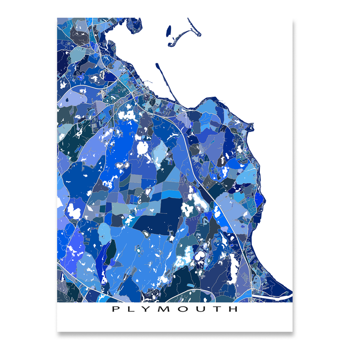 Plymouth, Massachusetts map art print in blue shapes designed by Maps As Art.