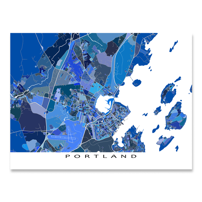 Portland, Maine map art print in blue shapes designed by Maps As Art.
