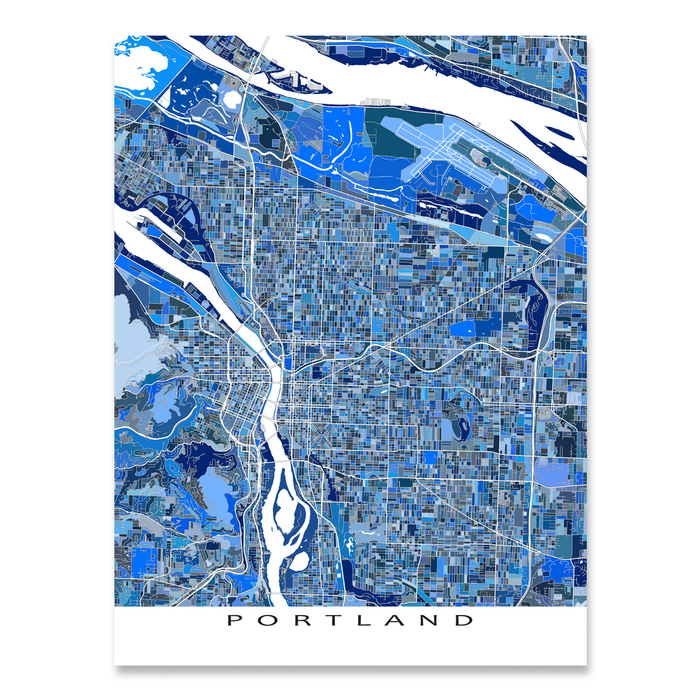Portland, Oregon map art print in blue shapes designed by Maps As Art.