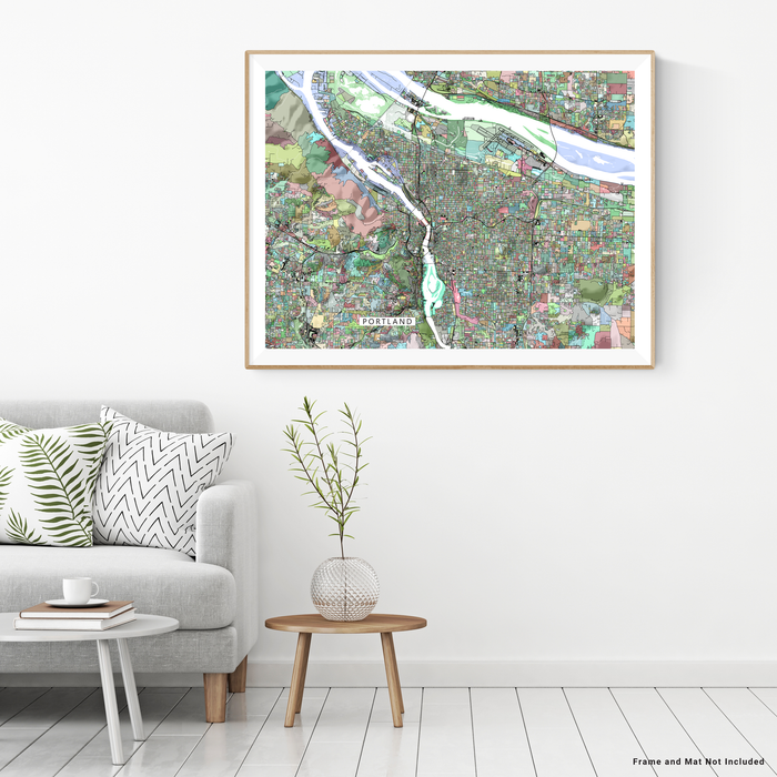 Portland, Oregon map art print in colorful shapes designed by Maps As Art.