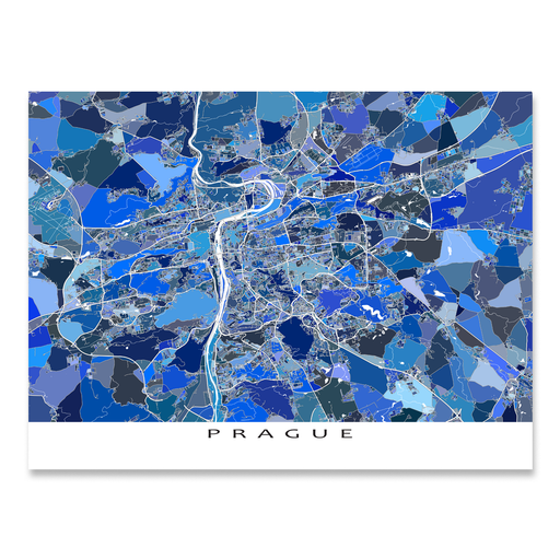 Prague, Czech Republic map art print in blue shapes designed by Maps As Art.