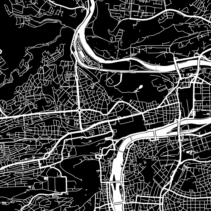 Prague, Czech Republic map print close-up with city streets and roads designed by Maps As Art.