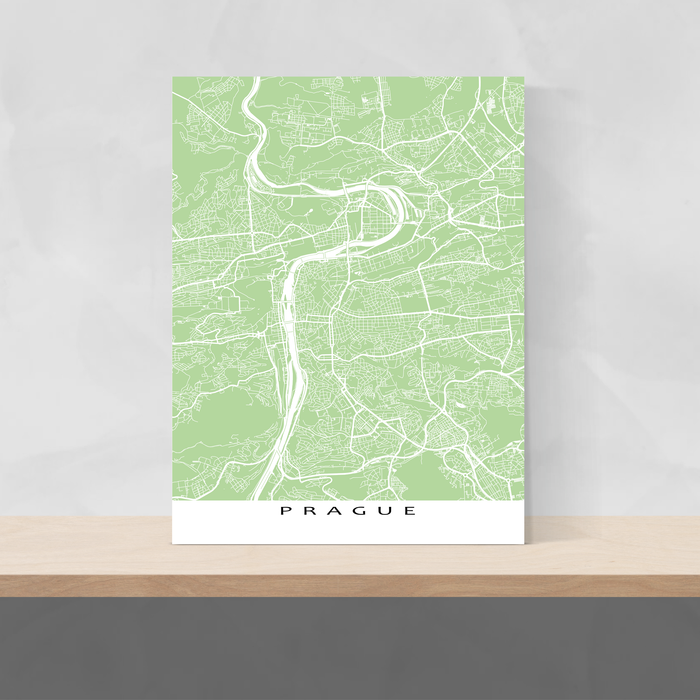 Prague, Czech Republic map print with city streets and roads in Sage designed by Maps As Art.