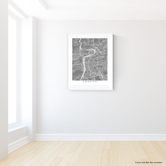 Prague, Czech Republic map print with city streets and roads in Grey designed by Maps As Art.