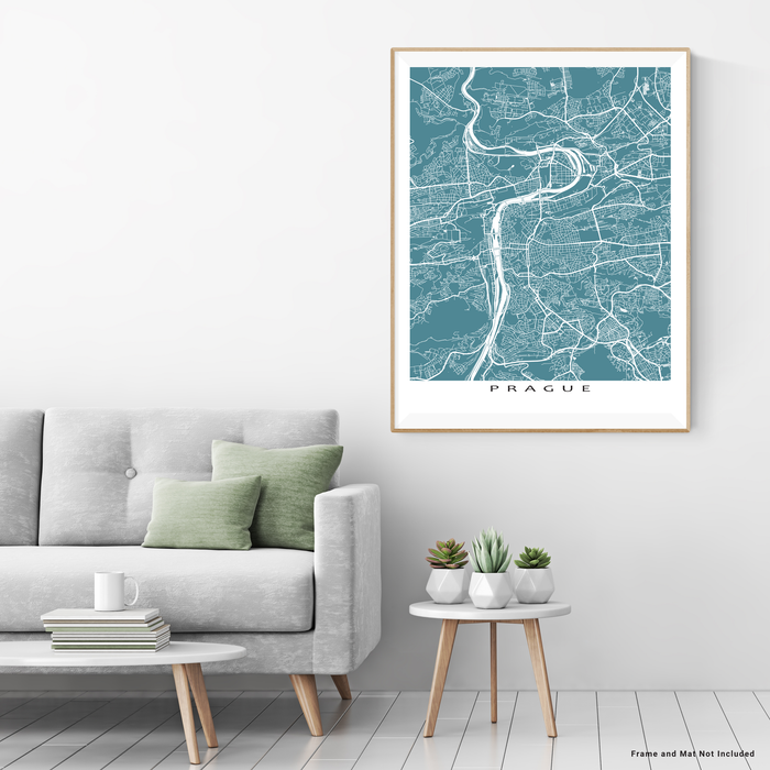 Prague, Czech Republic map print with city streets and roads in Marine designed by Maps As Art.