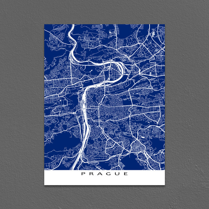 Prague Map Print, Czech Republic, Colors
