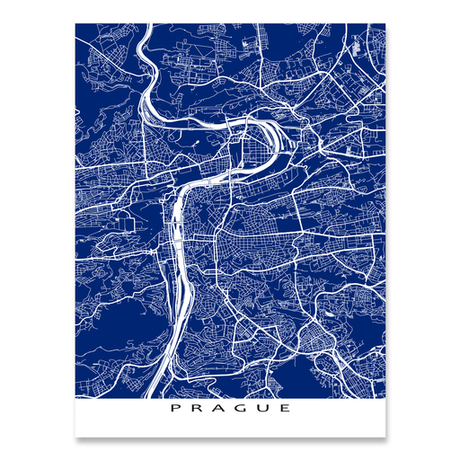 Prague, Czech Republic map print with city streets and roads in Navy designed by Maps As Art.